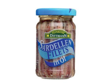 Feinkost Dittmann sardelové filetky v oleji 100g