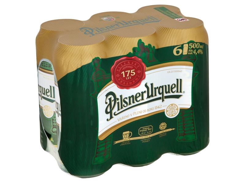 Pilsner Urquell pivo 6x500ml plech