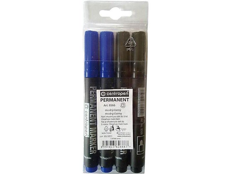 Centropen Značkovač permanentní 8566 modrý-černý 4ks