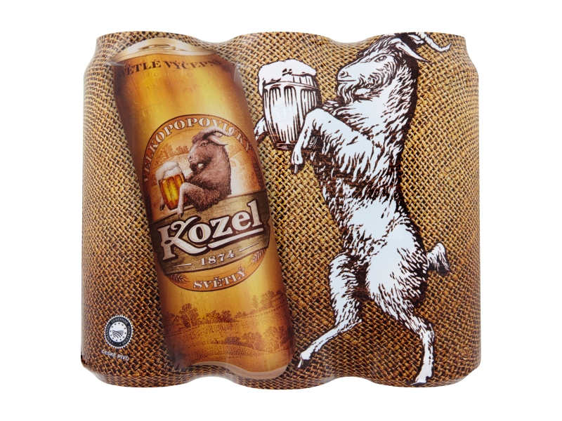 Velkopopovický Kozel Světlý výčepní pivo 6 x 500ml, plech
