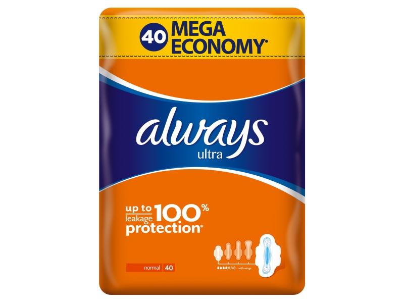 Always Ultra Normal Vel. 1 Hygienické Vložky S Křidélky 40ks