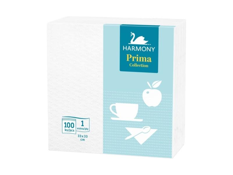 Harmony Prima White Ubrousky 1 vrstva 33x33 cm, 100ks