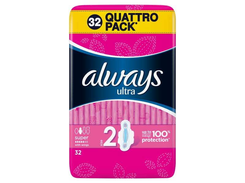 Always Ultra Long Vel. 2 Hygienické Vložky S Křidélky 32ks