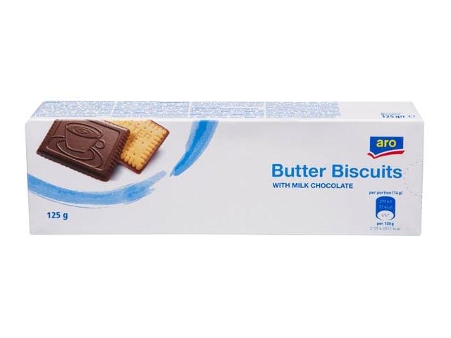 ARO Biscuits Máslové sušenky s mléčnou čokoládou 125g