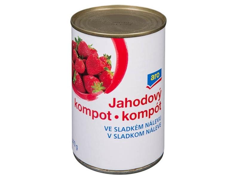 ARO Kompot jahodový ve sladkém nálevu 425ml