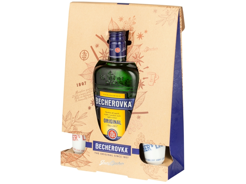 Becherovka Original Likér 38%, 500ml + kalíšky 2ks