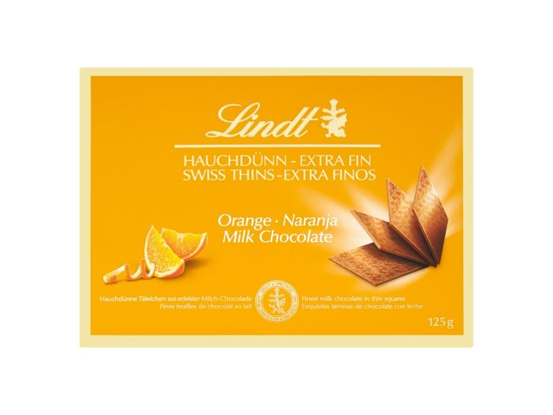 Lindt Thins mléčná čokoláda s pomerančem 125g