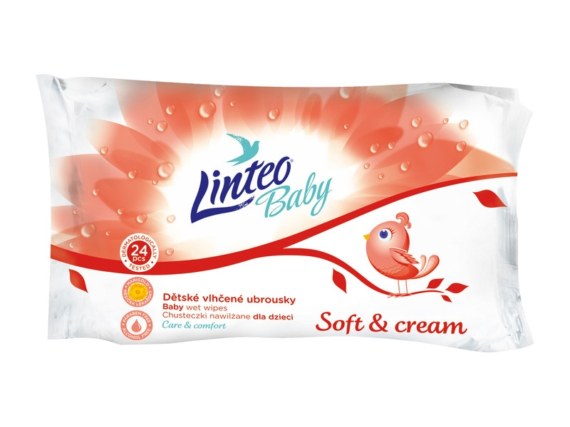 Linteo Vlhčené ubrousky Baby Soft and Cream 24ks
