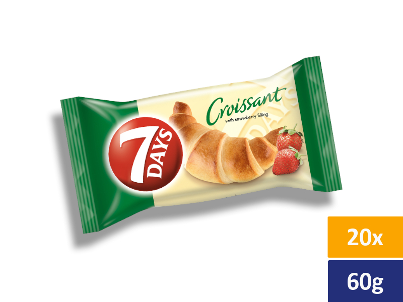 7DAYS Croissant Jahoda, balení 20 x 60g