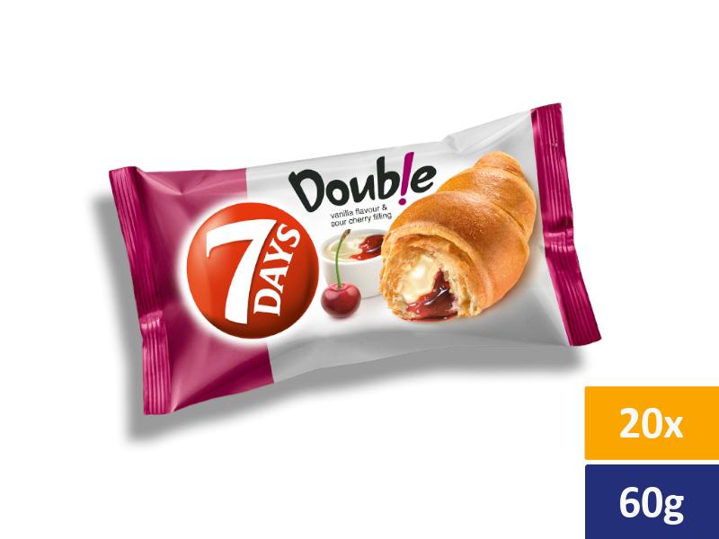 7DAYS Croissant Double Vanilka + Višeň, balení 20 x 60g