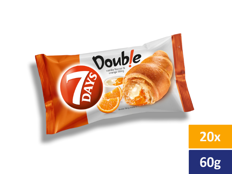 7DAYS Croissant Double Vanilka + Pomeranč, balení 20 x 60g