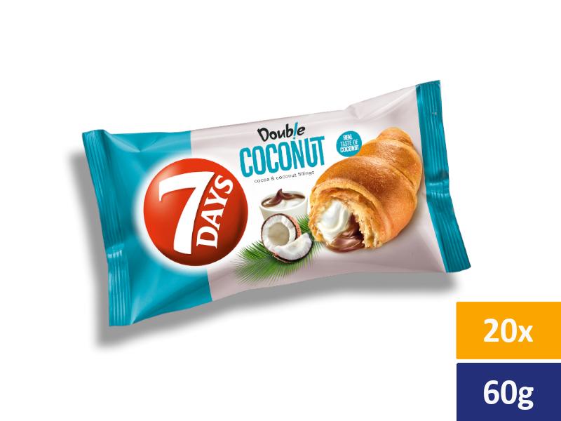 7DAYS Croissant Double Kakao + Kokos, balení 20 x 60g