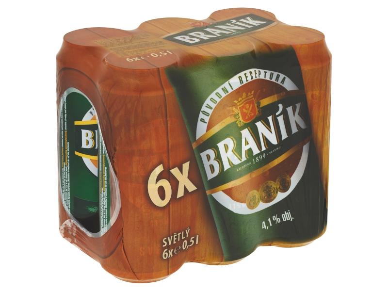 Braník Pivo výčepní světlé 6 x 0,5l, plech