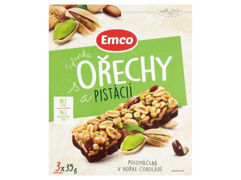 Emco Tyčinka s ořechy a pistácií polomáčená v hořké čokoládě, 3x35g