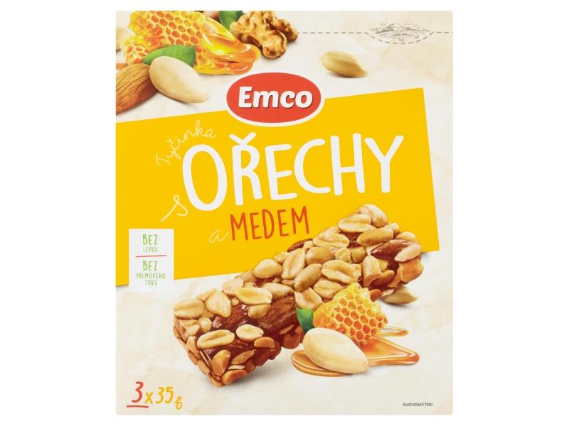 Emco Tyčinka s ořechy a medem, 3x35g