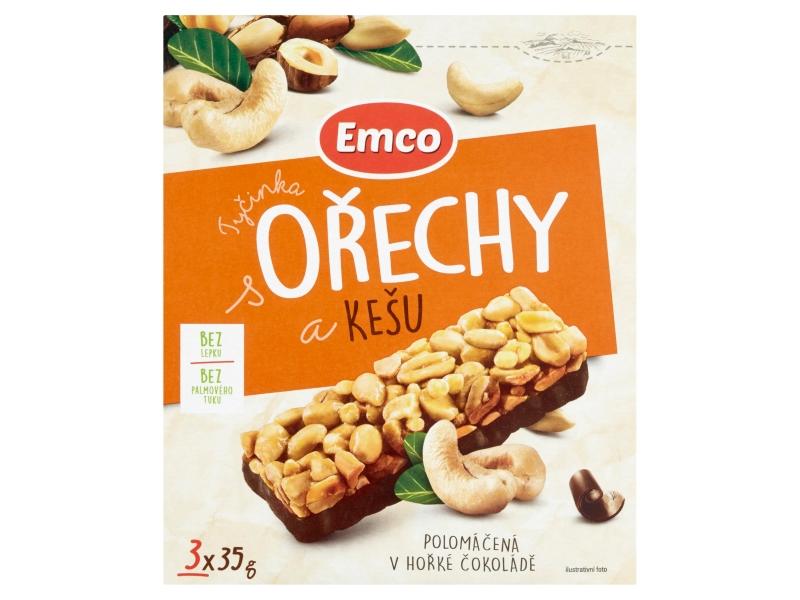 Emco Tyčinka s ořechy a kešu polomáčená v hořké čokoládě, 3x35g