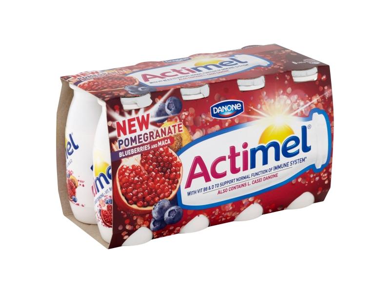 Danone Actimel Jogurtové mléko s borůvkama, granátovým jablkem a maca, 8 x 100g