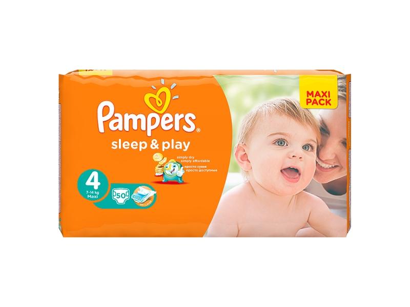 Pampers Sleep & Play Velikost 4 (Maxi), 50 Plenek
