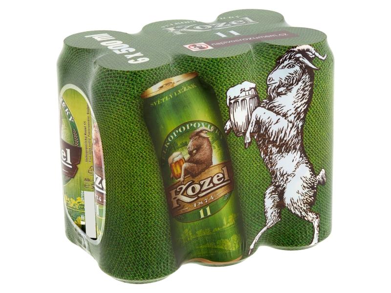Velkopopovický Kozel 11 pivo ležák světlý 6x500ml, plech