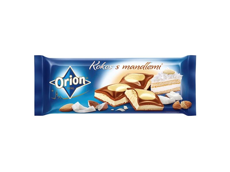 Orion Mléčnobílá čokoláda kokos s mandlemi 240g