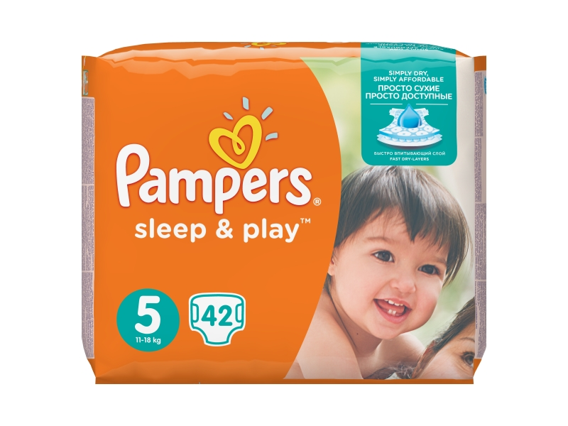 Pampers Sleep & Play Velikost 5 (Junior), 42 Plenek