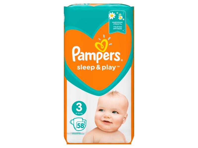 Pampers Sleep & Play Velikost 3 (Midi), 58 Plenek, 6–10 kg