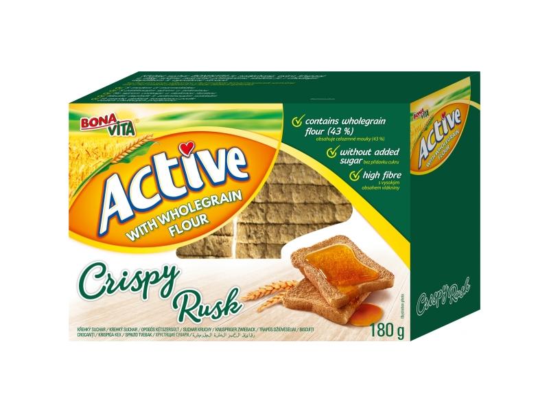 Bonavita Active With Wholegrain Flour Crispy Rusk Suchary s celozrnnou moukou 180g
