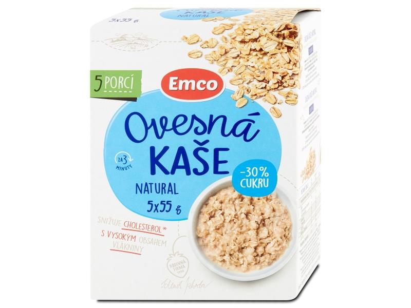 Emco Ovesná kaše Natural 30% méně cukru 5x55g