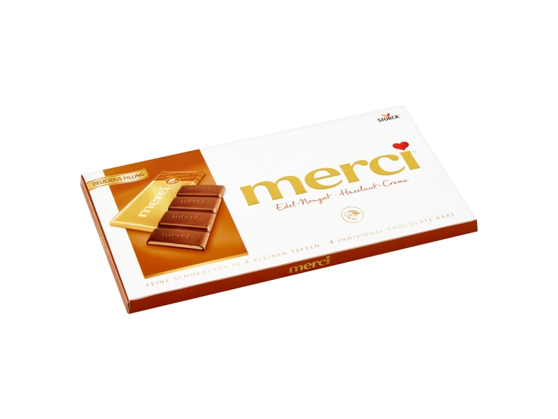 Storck merci Mléčná čokoláda plněná lískooříškovým krémem 112g