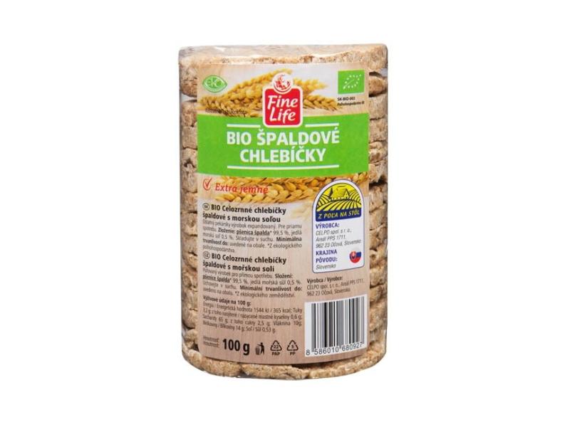 Fine Life Špaldové chlebíčky celozrnné s mořskou solí BIO 100g