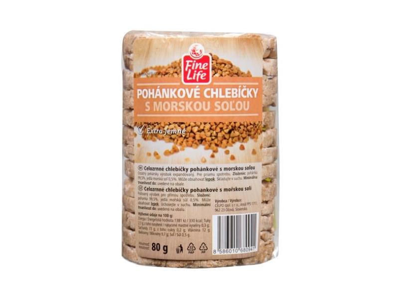Fine Life Pohankové chlebíčky s mořskou solí 100% natural celozrnné 80g