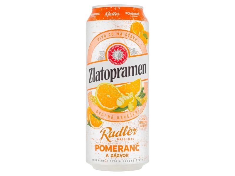 VÝPRODEJ Zlatopramen Radler Pomeranč a zázvor 0,5l, plech