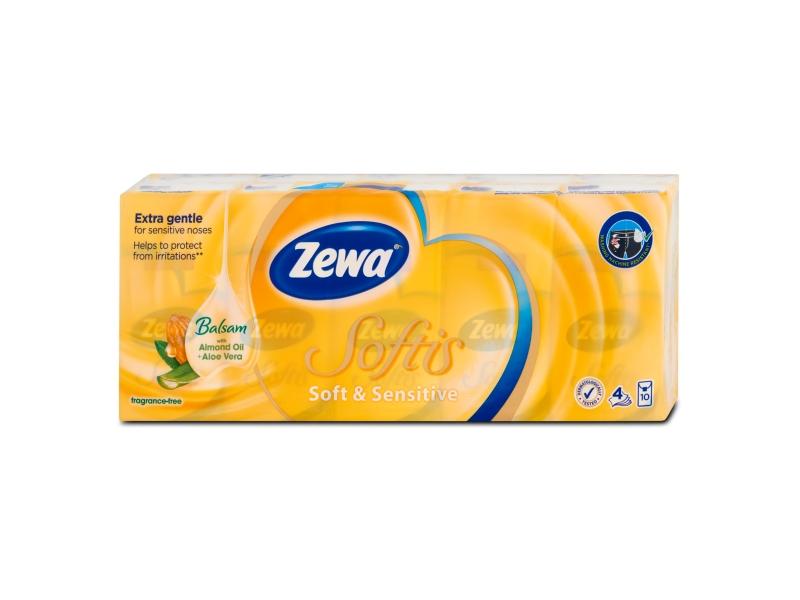 Zewa Softis Soft & Sensitive papírové kapesníčky 4-vrstvé 10 x 9 ks