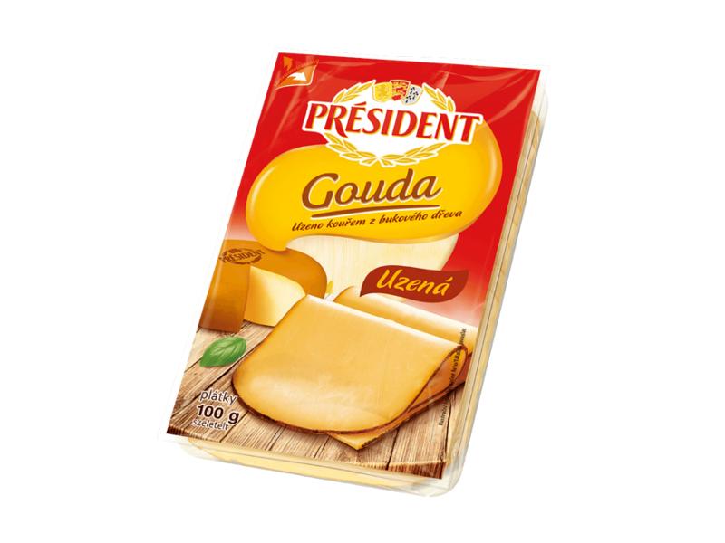 Président Gouda uzená, plátky 100g