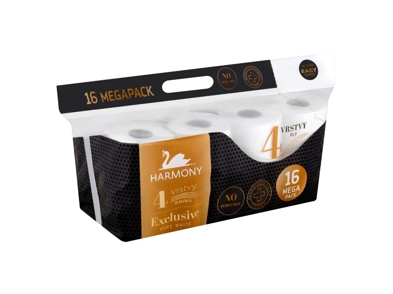 Harmony Exclusive Pure White toaletní papír 4 vrstvy 16 ks