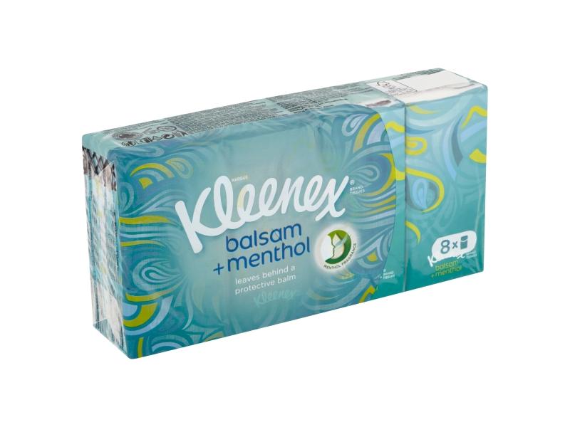 Kleenex Balsam + Menthol papírové kapesníky 4-vrstvé 8 x 9 ks