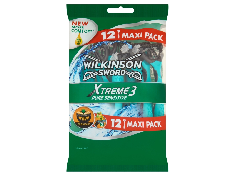 Wilkinson Sword Xtreme3 Pure Sensitive 3-břitý holicí strojek 12 ks