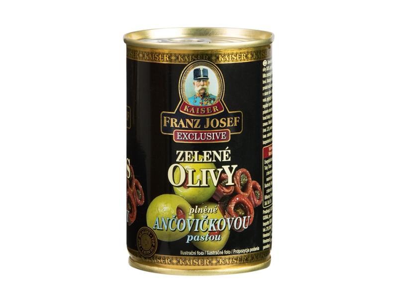 Franz Josef Kaiser Zelené olivy plněné ančovičkovou pastou 300g