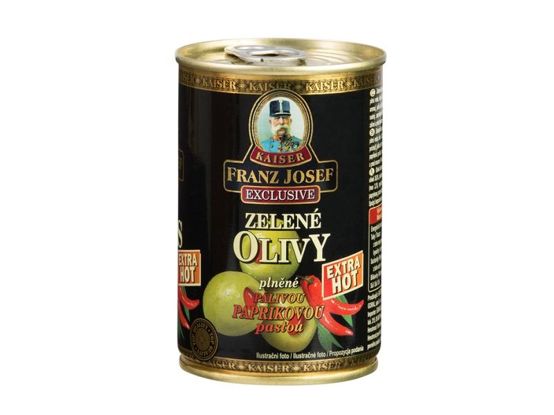 Franz Josef Kaiser Zelené olivy plněné pálivou paprikovou pastou 300g