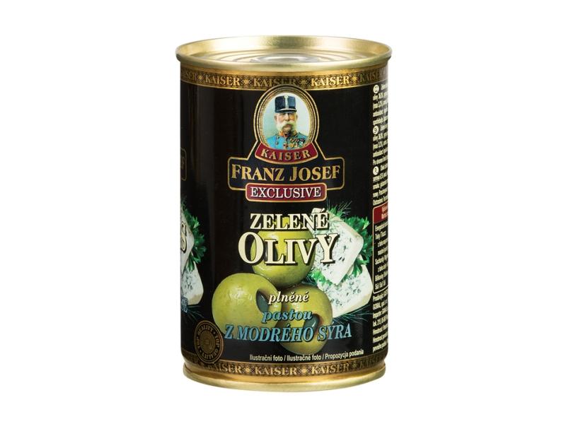 Franz Josef Kaiser Zelené olivy plněné pastou z modrého sýra 300g