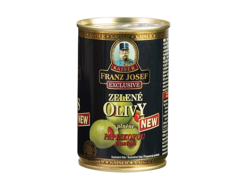 Franz Josef Kaiser Zelené olivy plněné nepálivou paprikovou pastou 300g