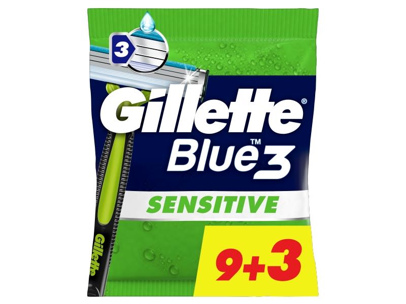 Gillette Blue3 Comfort Sensitive Pánské Pohotové Holítko, 9+3 ks