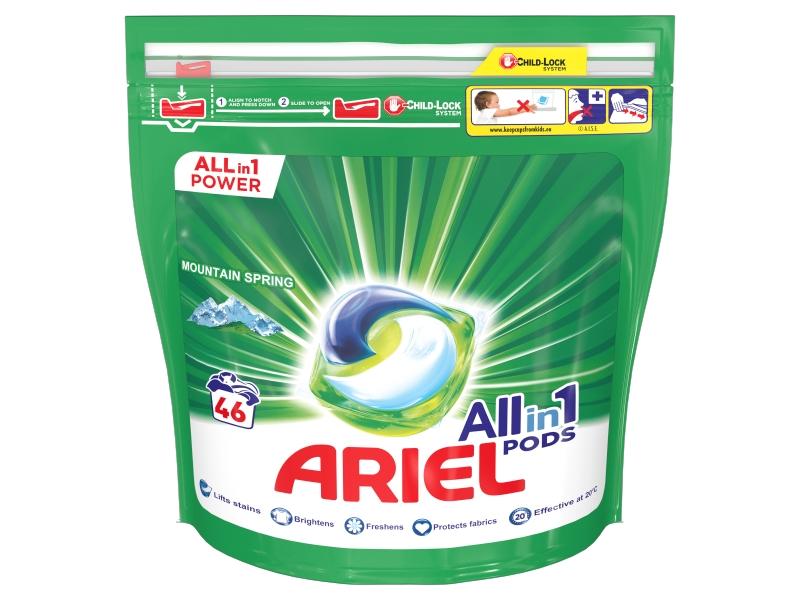 Ariel All-In-1 PODs Mountain Spring Kapsle Na Praní, 46 Praní