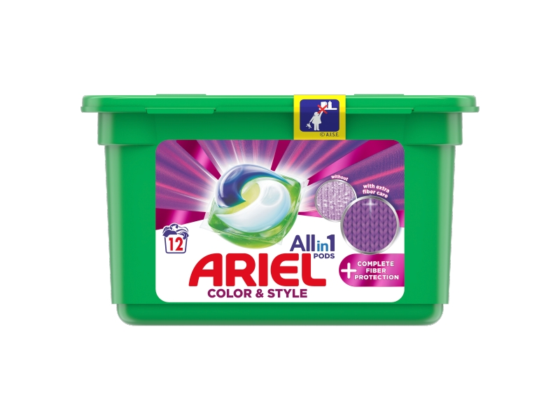 Ariel All-In-1 PODs + Complete Fiber Protection Kapsle Na Praní, 12 Praní