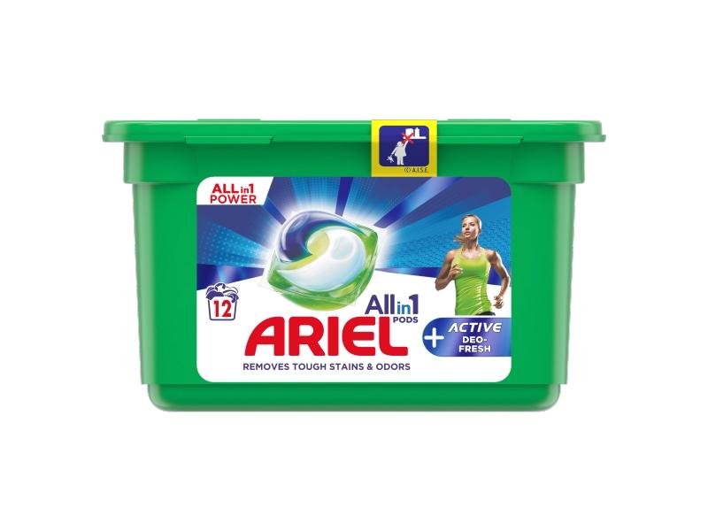 Ariel All-In-1 PODs + Active Deo-Fresh Kapsle Na Praní, 12 Praní