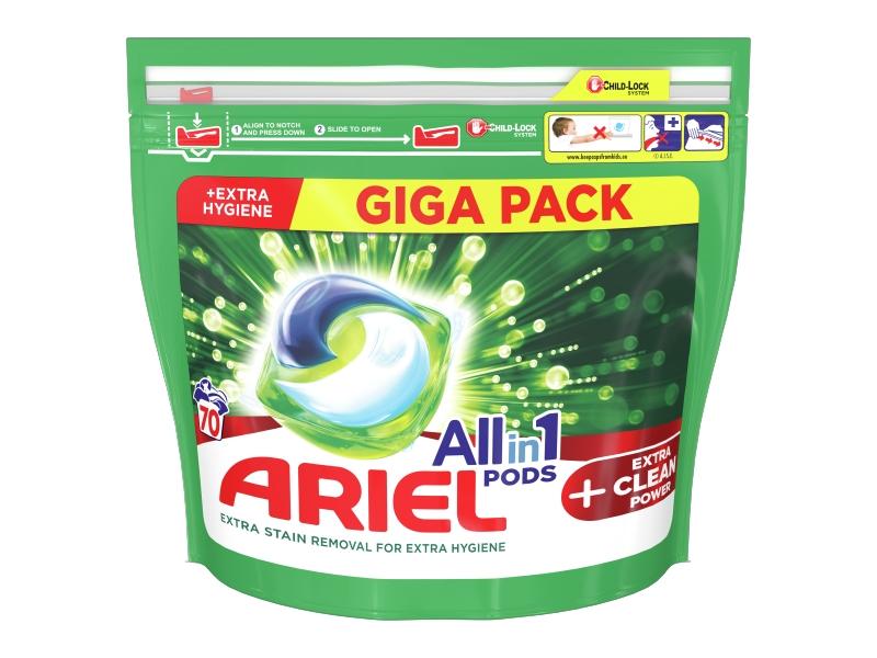 Ariel All-In-1 PODs + Extra Clean Power Kapsle Na Praní, 70 Praní