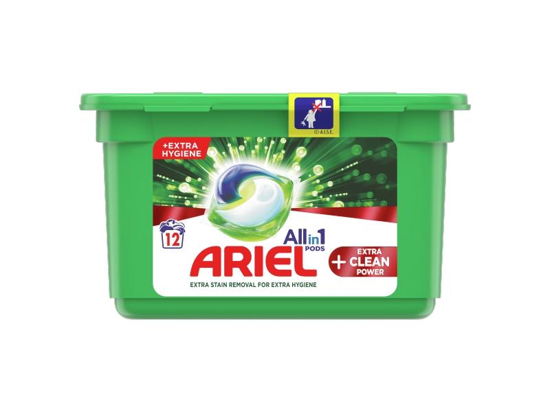 Ariel All-In-1 PODs +Extra Clean Power Kapsle Na Praní, 12 Praní