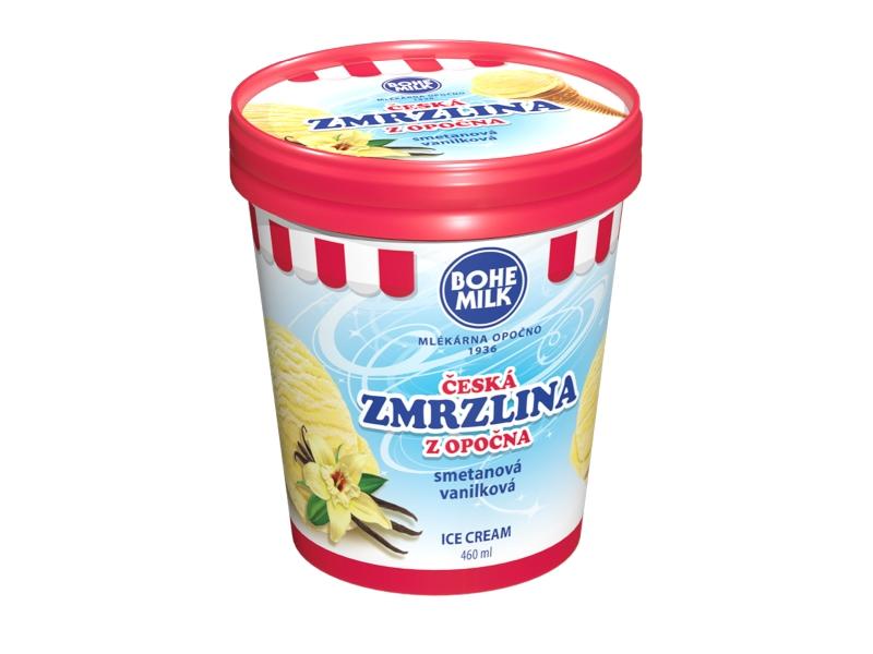 Česká zmrzlina z Opočna vanilková v kelímku 460ml