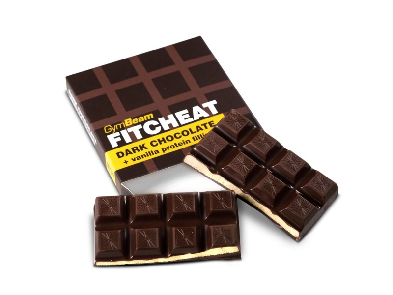 GymBeam Fitcheat Protein Chocolate hořká čokoláda a vanilka 90g